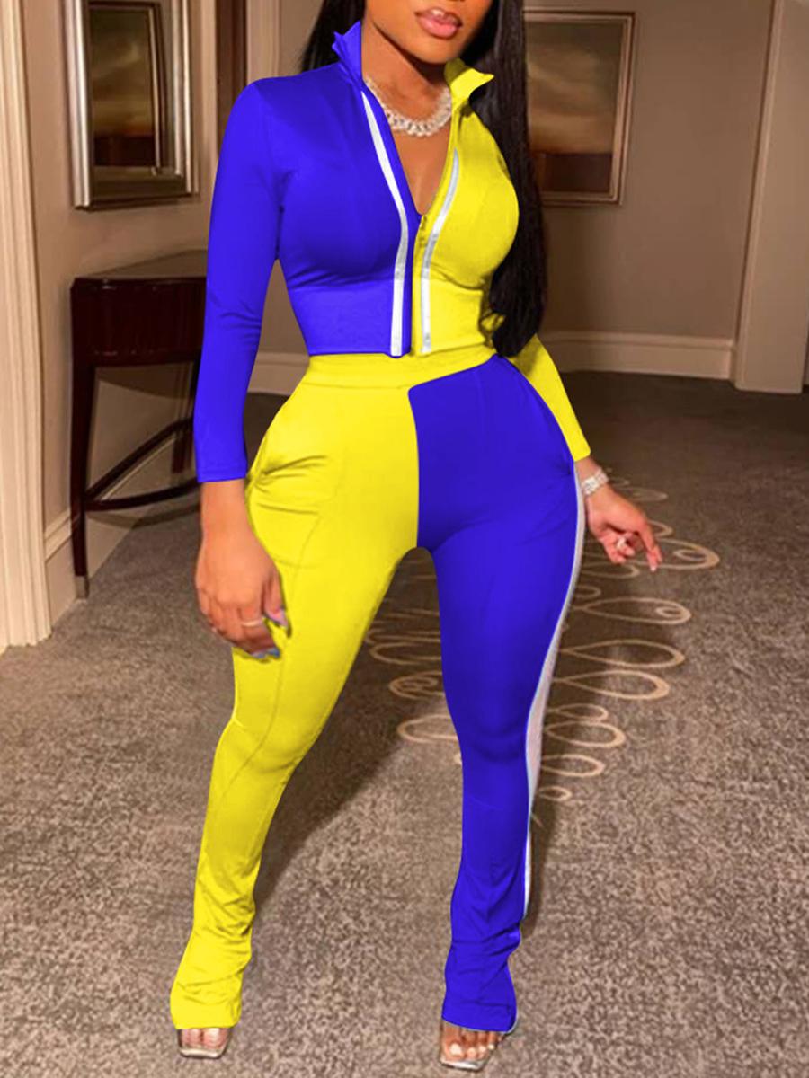 LW Plus Size Sportswear Turndown Collar Zipper Design Patchwork Blue Two-piece Pants Set
