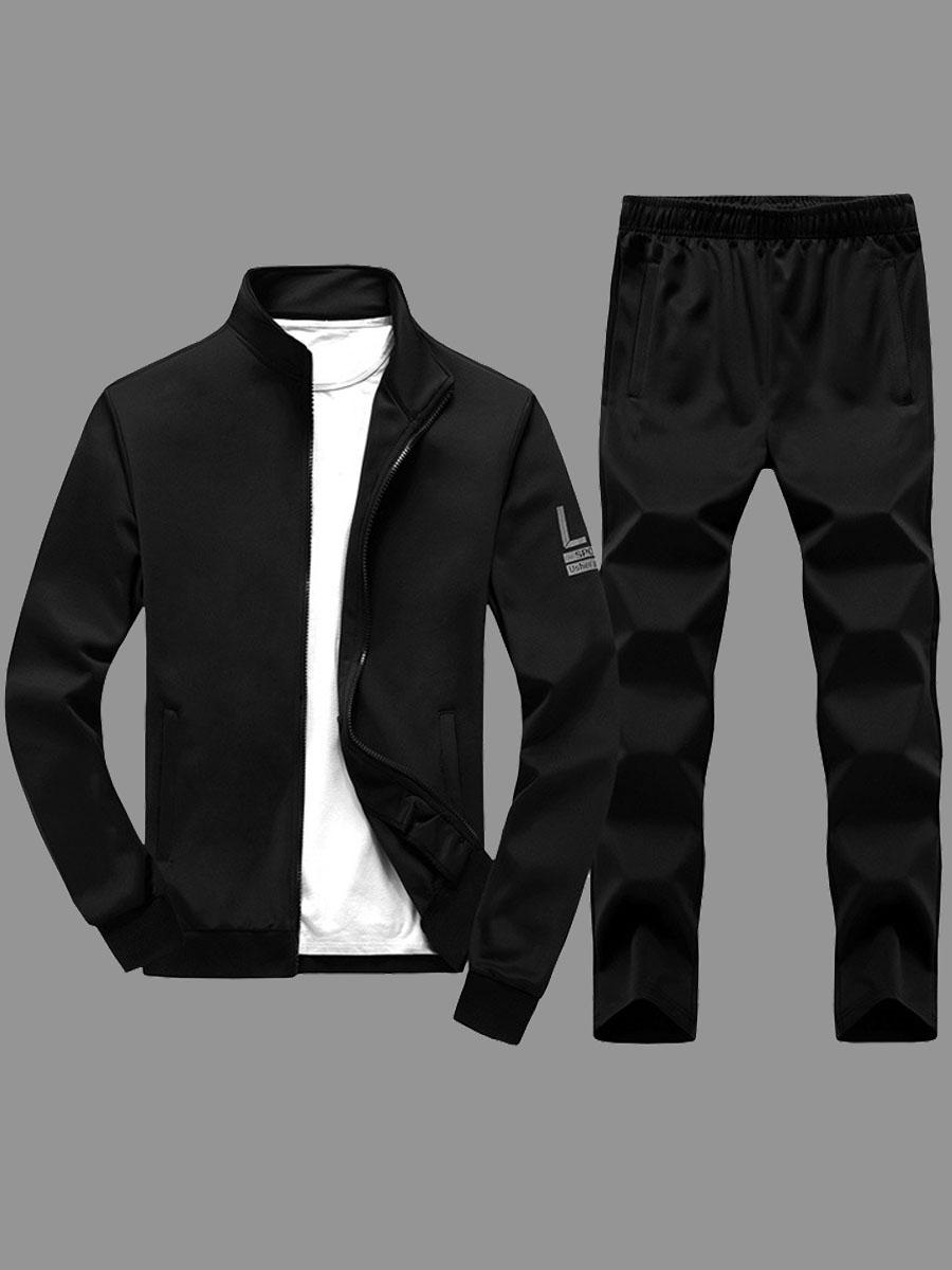 Lovely Sportswear Zipper Design Black Men Two-piece Pants Set фото