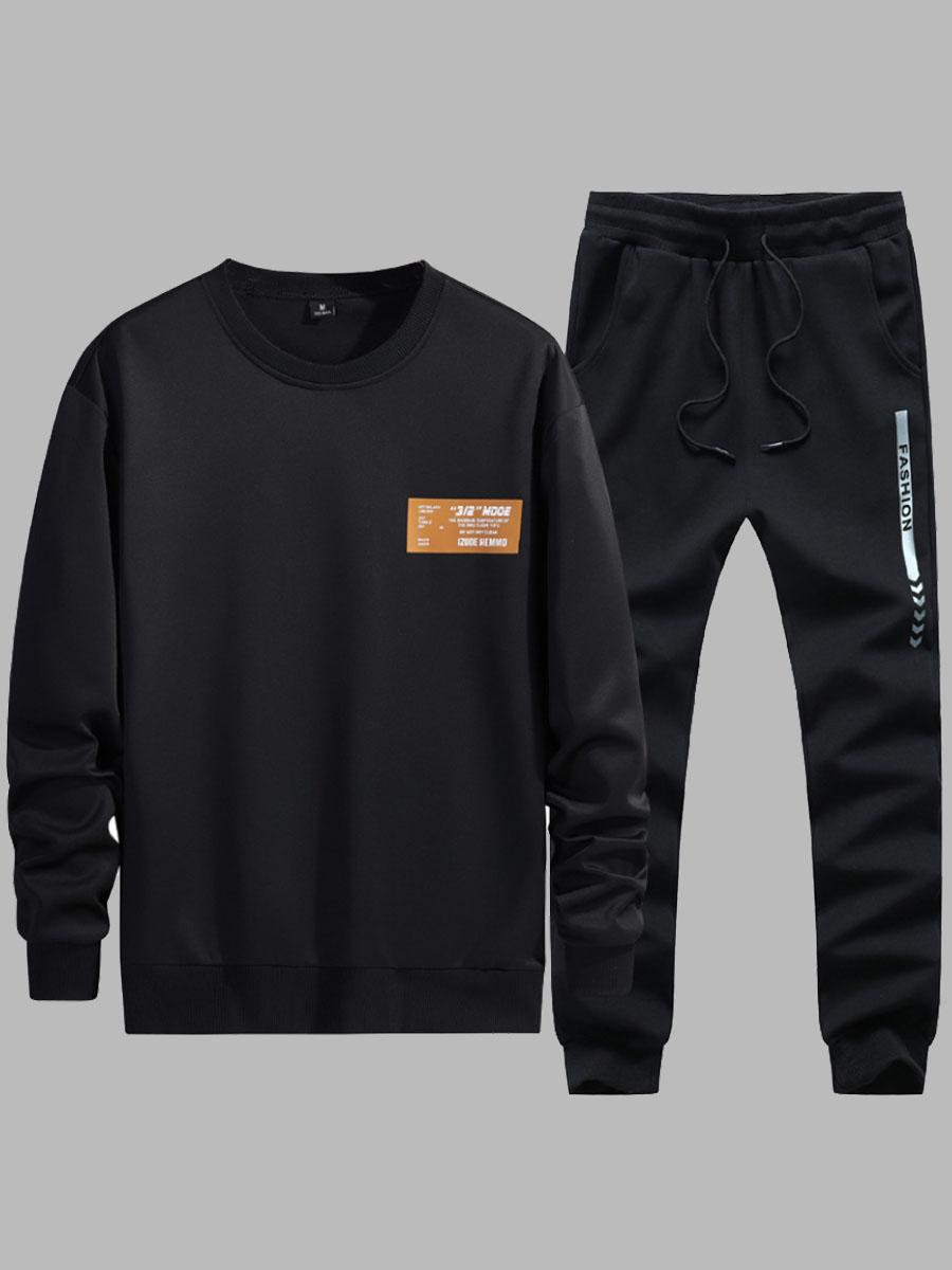 Lovely Sportswear O Neck Print Black Men Two-piece Pants Set фото
