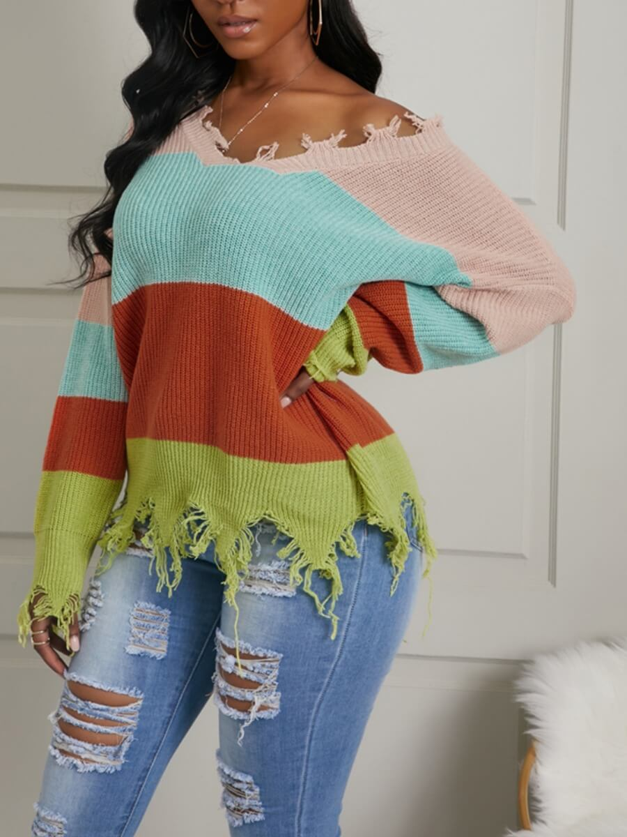 Sweaters & Cardigans lovely Leisure V Neck Patchwork Asymmetrical Orange Red Sweater фото