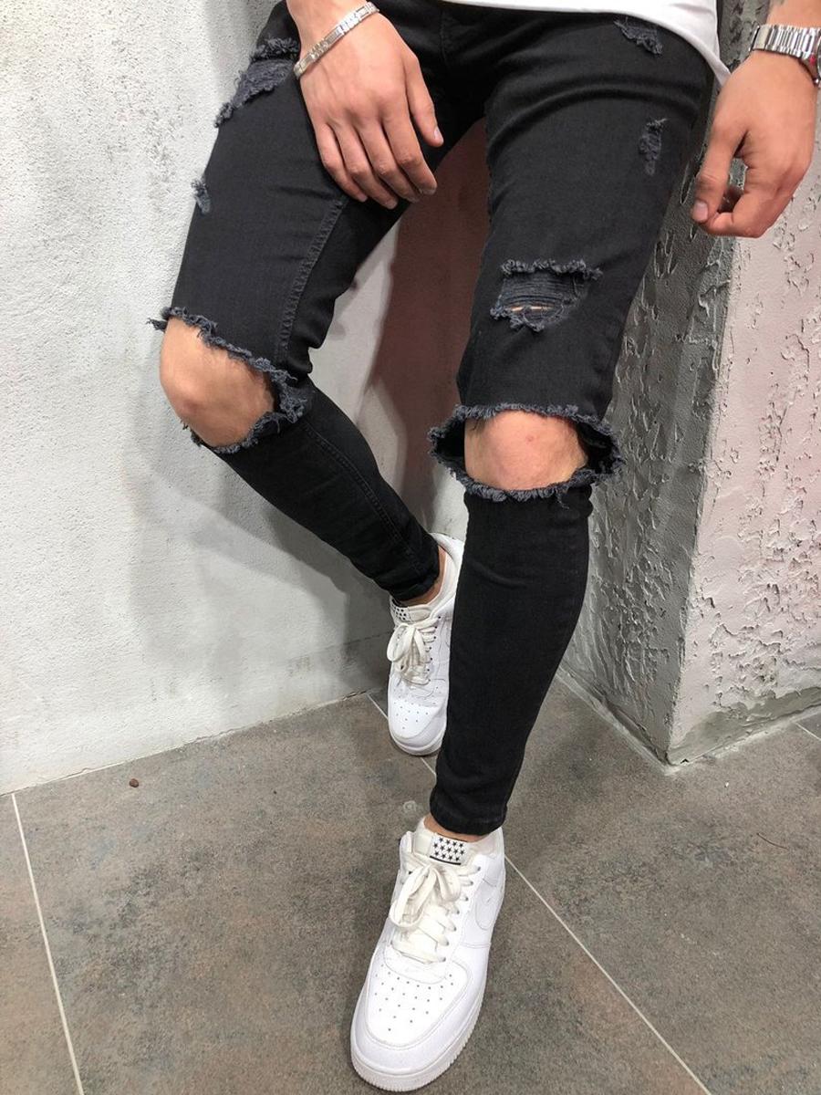 Lovely Casual Broken Holes Black Men Jeans фото