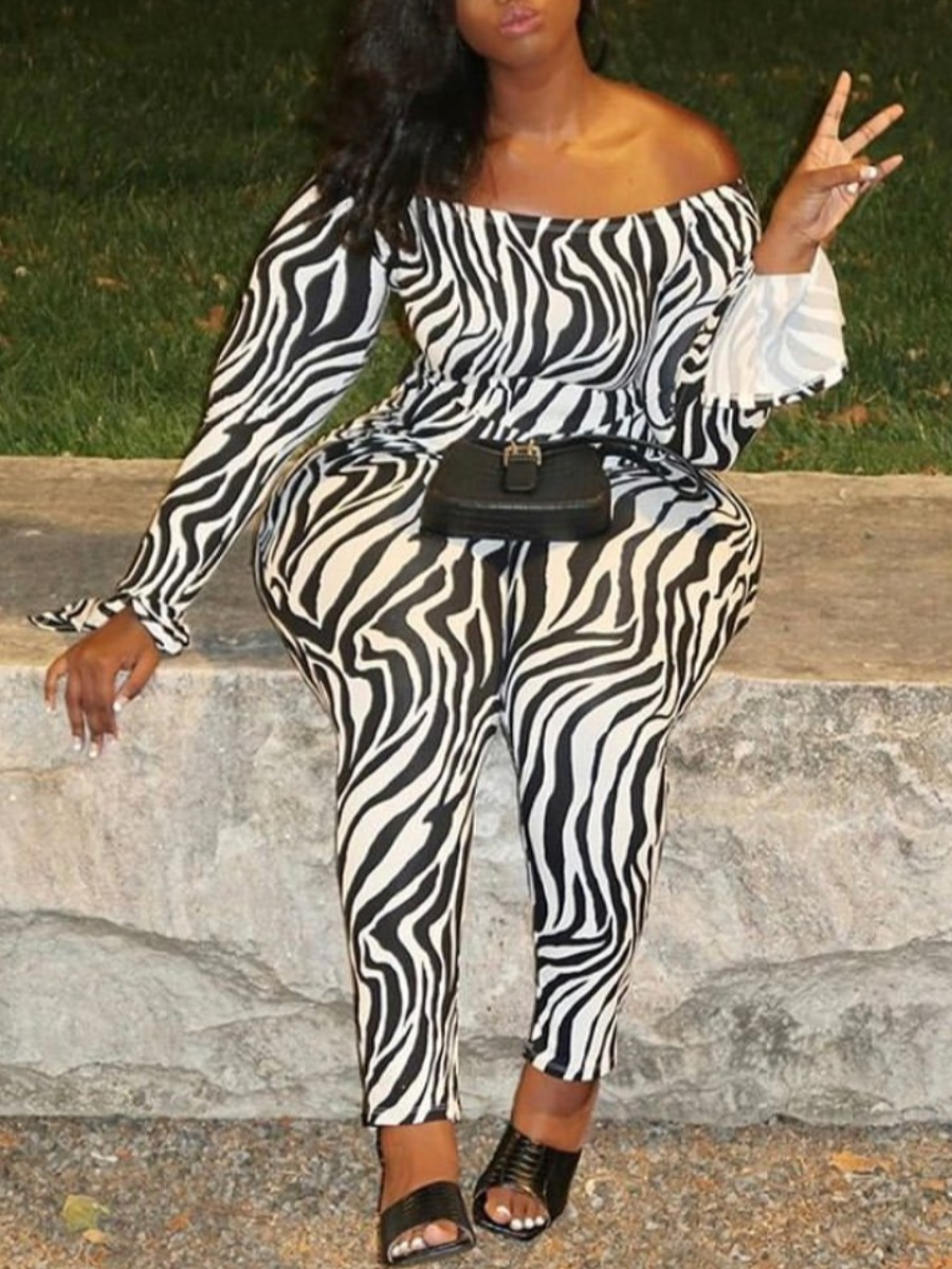 Lovely Trendy Striped Print Black One-piece Jumpsuit фото