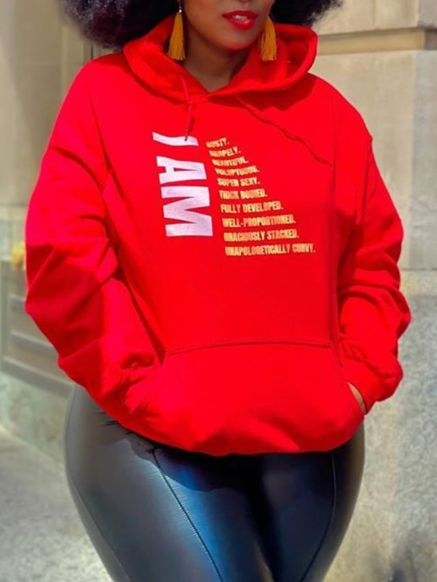 Plus Size Hoodies Lovely Leisure Hooded Collar Print Red Plus Size Hoodie фото