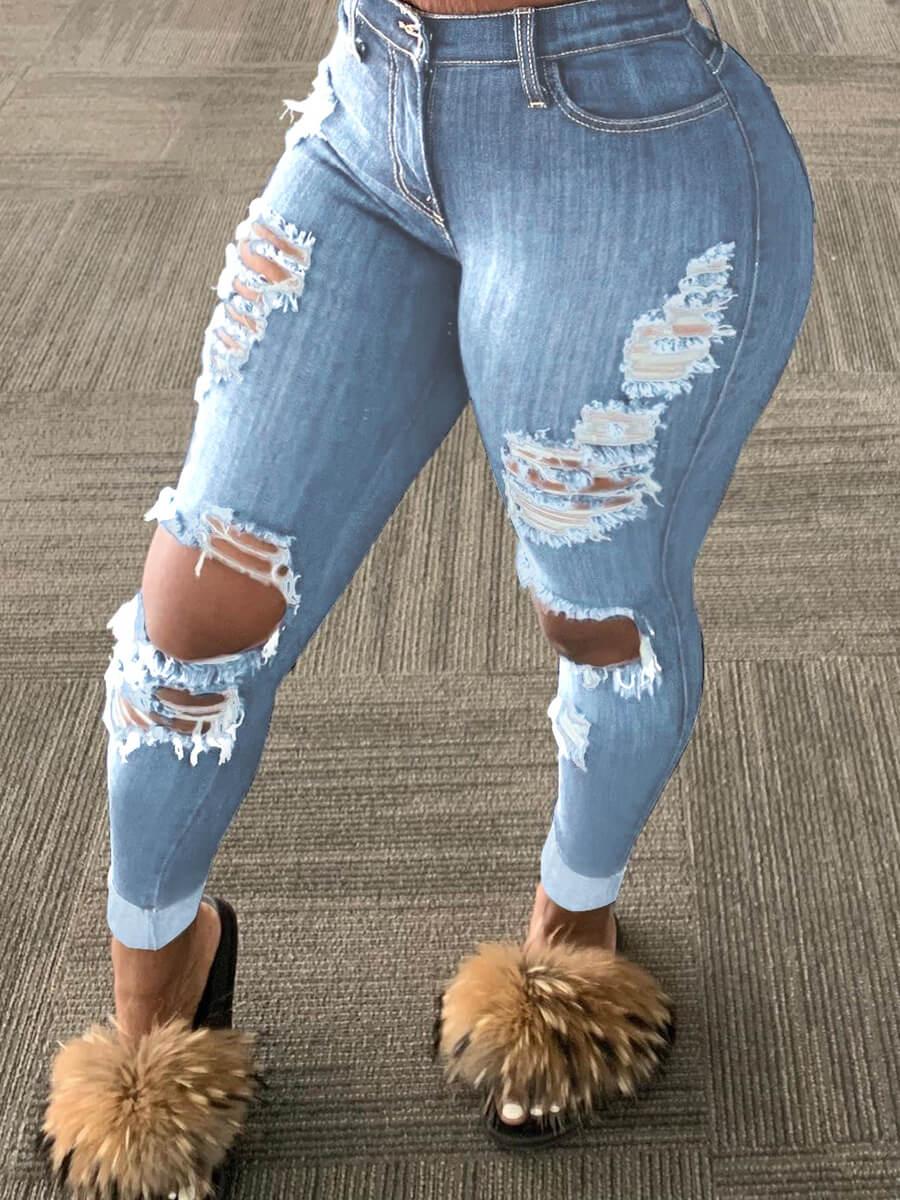 Lovelywholesale coupon: LW Plus Size Trendy Broken Holes Baby Blue Jeans