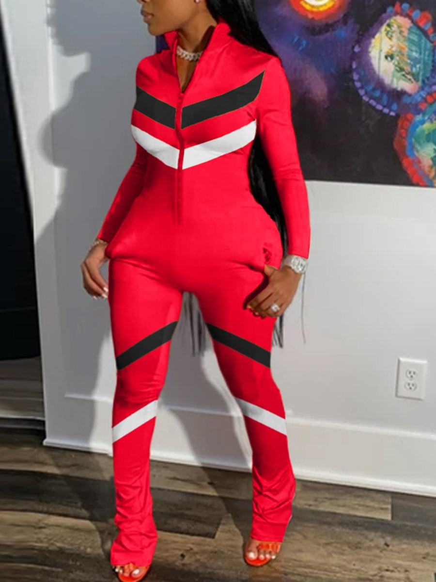 Plus Size Jumpsuit lovely Sportswear Zipper Design Patchwork Red Plus Size One-piece Jumpsuit фото