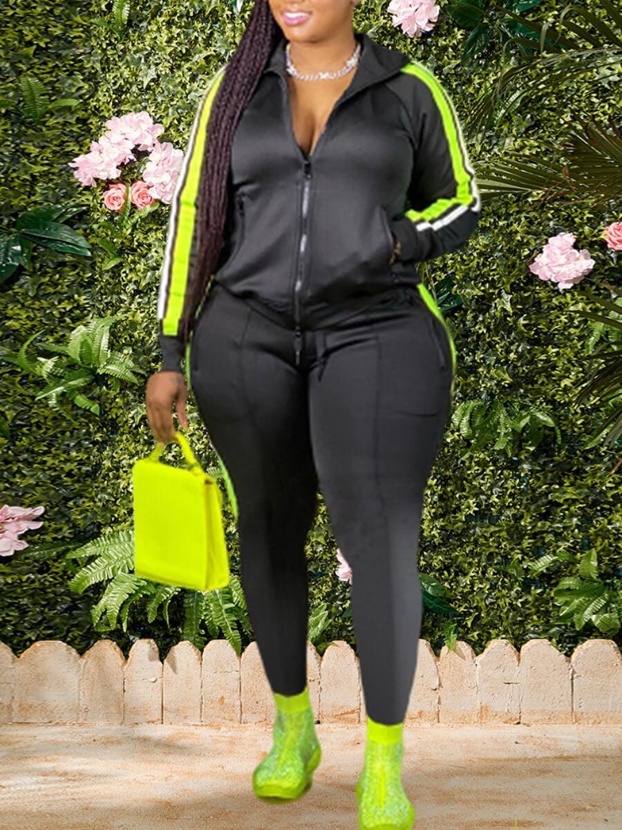 Lovelywholesale coupon: LW BASICS Plus Size Sportswear Hooded Collar Patchwork Black Two-piece Pants Set