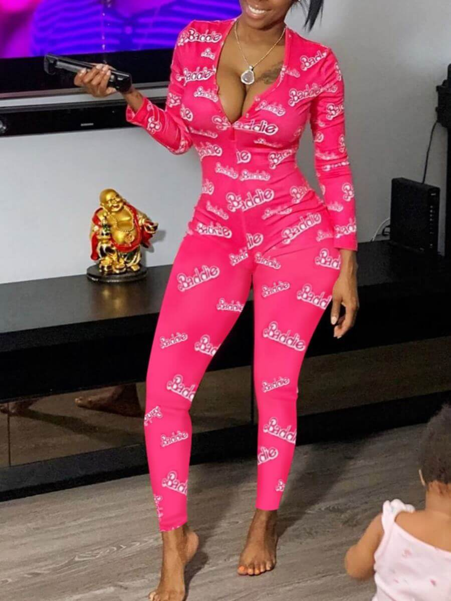 Lovely Stylish Letter Print Rose Red One-piece Jum