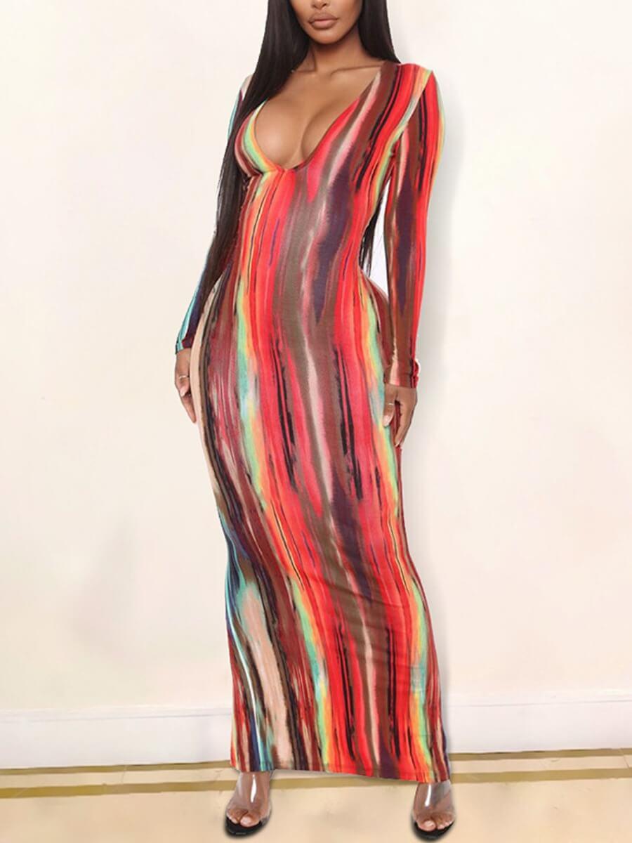 Lovely Stylish Deep V Neck Tie-dye Red Ankle Lengt