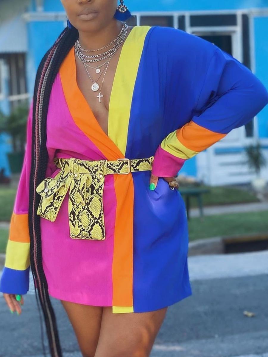 lovely Stylish V Neck Patchwork Multicolor Mini Dress(Without Belt)