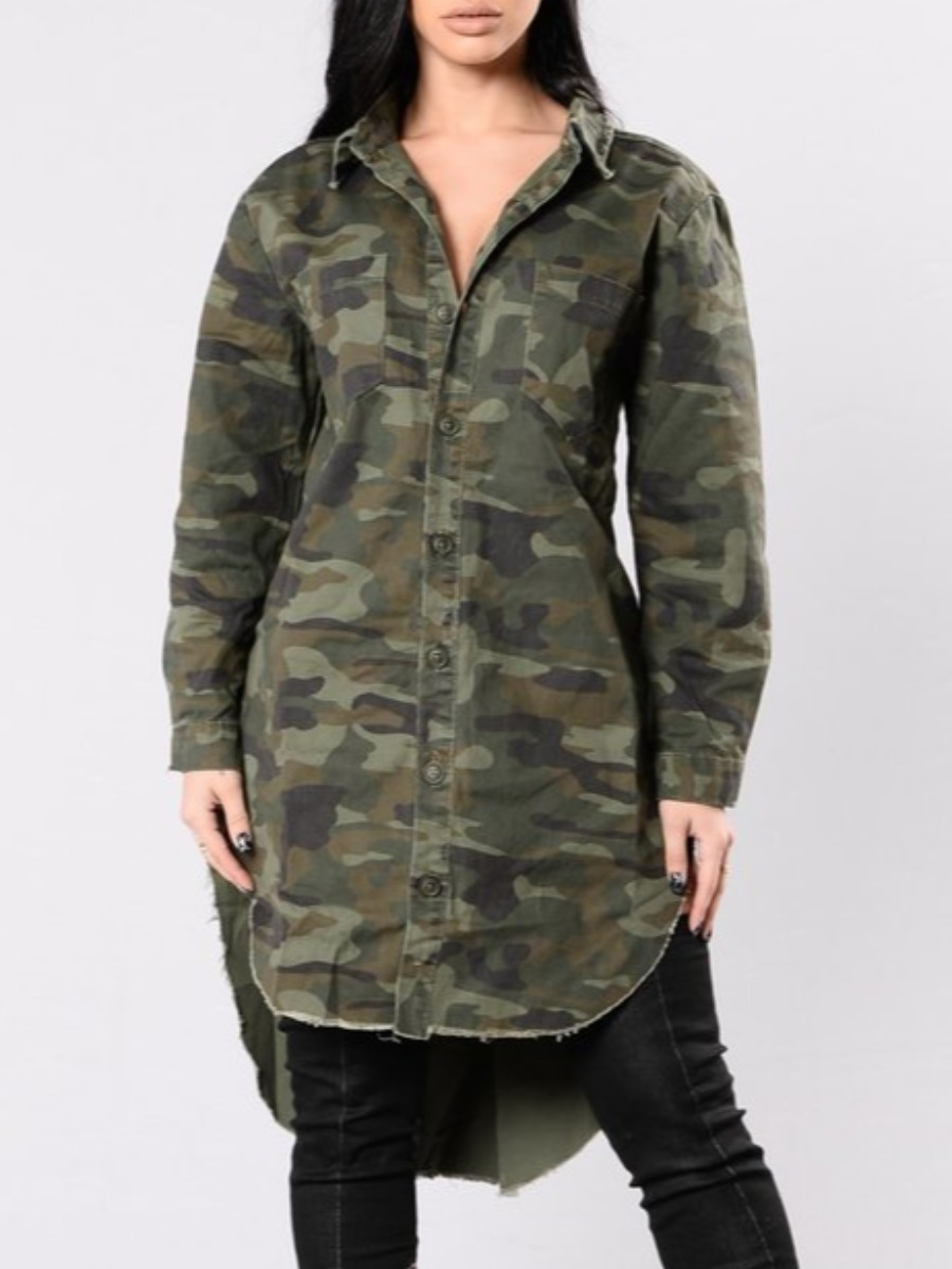 Coat&Jacket lovely Street Turndown Collar Asymmetrical Camo Print Long Coat фото
