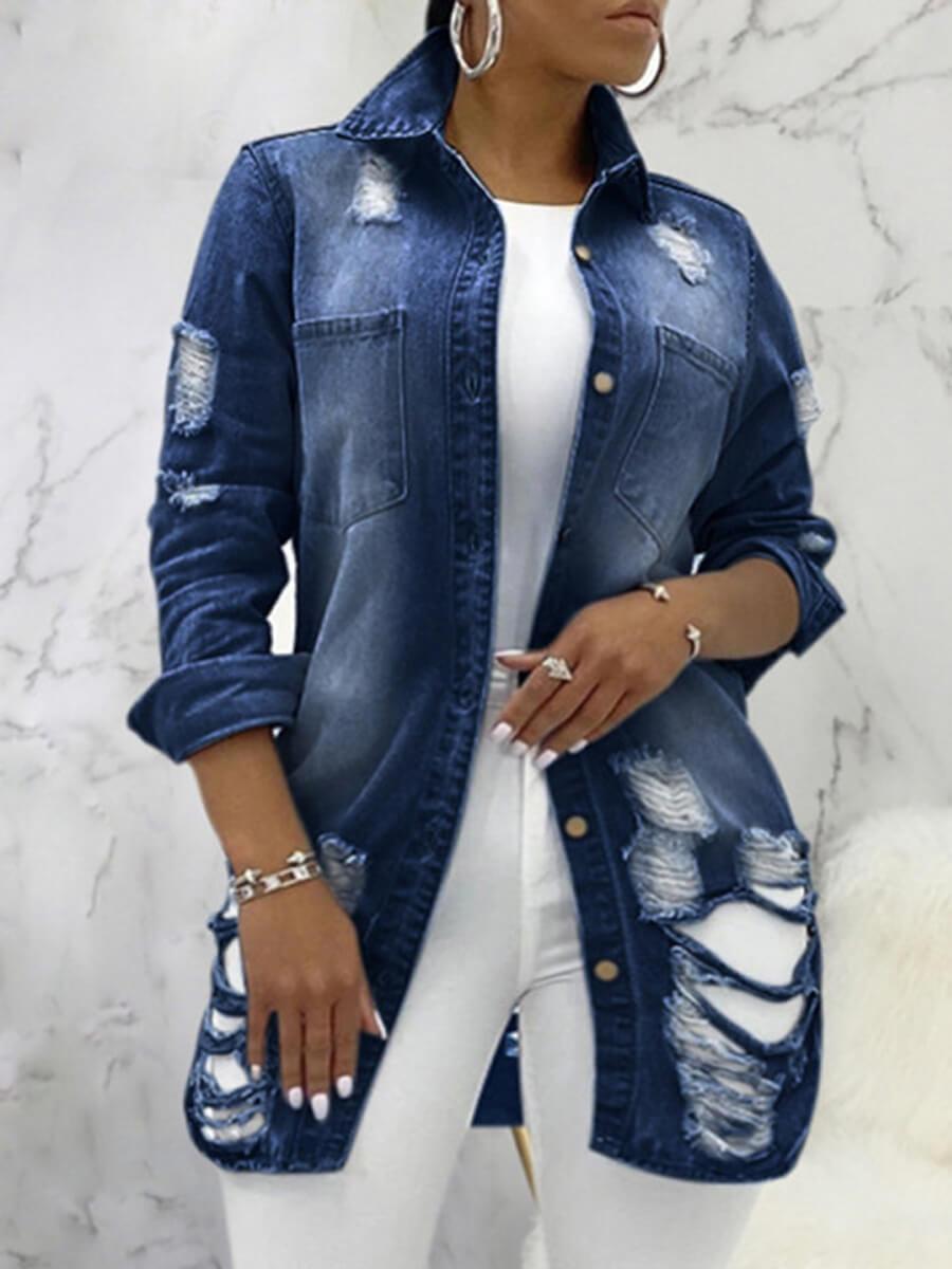 LW Plus Size Stylish Turndown Collar Broken Holes Deep Blue Denim Jacket