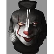 Men lovely Street Hooded Collar Clown Print Pitch-black Hoodie