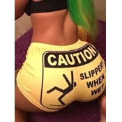 Lovely Casual Letter Print Yellow Shorts