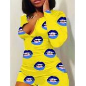 lovely Leisure Lip Print Yellow Sleepwear