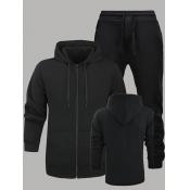 Lovely Men Sportswear Hooded Collar Zipper Design Black Men Two-piece Pants Set