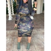 lovely Street O Neck Camo Print Army Green Mid Calf Dress