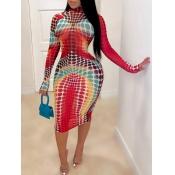 Lovely Trendy Print Multicolor Knee Length Plus Si