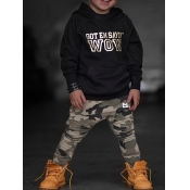 lovely Street Hooded Collar Print Black Boy Two-piece Pants Set