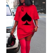 lovely Casual O Neck Print Red Mini Dress