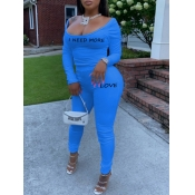 lovely Trendy U Neck Letter Print Blue Two Piece Pants Set