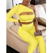 lovely Stylish One Shoulder Hollow-out Yellow Two