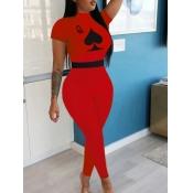 lovely Sportswear Print Red One-piece Jumpsuit
