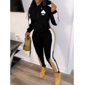 lovely Leisure Hooded Collar Patchwork Black Two Piece Pants Set