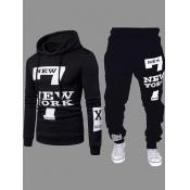 Lovely Men Sportswear Hooded Collar Letter Print Carbon Black Two-piece Pants Set