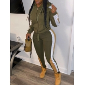 Lovely Sportswear Hooded Collar Patchwork Army Green Two Piece Pants Set