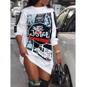 Lovely Street O Neck Print White Knee Length Dress