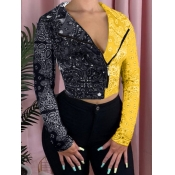 lovely Stylish Print Patchwork Yellow Jacket
