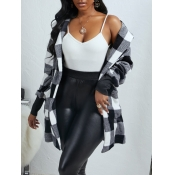 lovely Casual Hooded Collar Grid Print Black And W