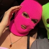 Lovely Hollow-out Rose Red Facekini Face Mask