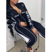 lovely Sportswear Letter Print Zipper Design Black One-piece Jumpsuit