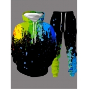Lovely Casual Hooded Collar Graffiti Print Black M