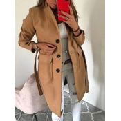 lovely Stylish Turndown Collar Buttons Design Brown Trench Coat