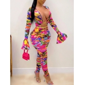 lovely Sexy Cross-over Design Print Multioclor One-piece Jumpsuit