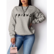 Lovely Casual O Neck Letter Print Grey Hoodie