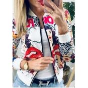lovely Trendy Print Zipper Design White Jacket