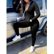 Lovely Casual Turndown Collar Zipper Design Black Two Piece Pants Set