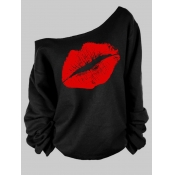 Lovely Casual Lip Print Red Plus Size Hoodie