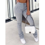 Lovely Street Fold Design Drawstring Grey Pants