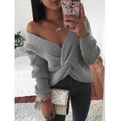 lovely Street Knot Design Grey Sweater
