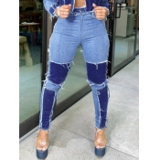 Lovely Trendy Patchwork Blue Jeans