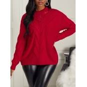 lovely Casual O Neck Gauze Patchwork Red Sweaters