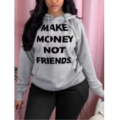lovely Casual Hooded Collar Letter Print Grey Hoodie