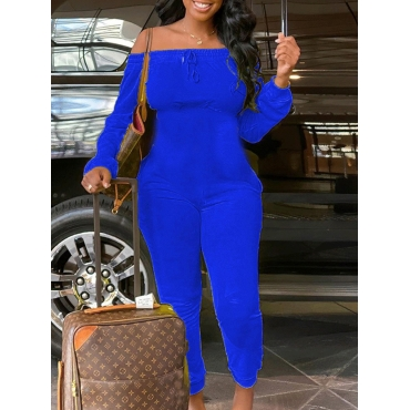 Lovely Leisure Dew Shoulder Basic Blue One-piece J