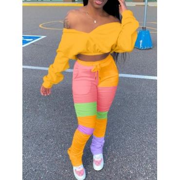 LW Trendy Dew Shoulder Color-lump Patchwork Yellow Two Piece Pants Set