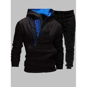 LW Men Sportswear Hooded Collar Letter Zipper Design Black  Two-piece Pants Set