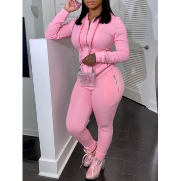 Lovely Casual Hooded Collar Zipper Design Pink Two